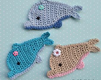 Crochet dolphin appliqué - pattern DIY