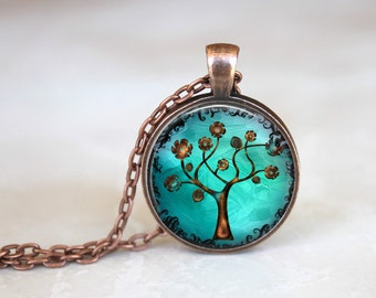 Copper Tree Necklace Pendant, Woodland Jewelry
