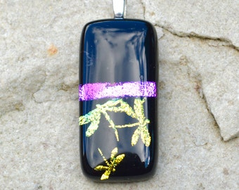 Dichroic Glass Pendant Dragonfly Pattern Iridescent Colours Gold Green Blue Pink on Black Oblong - Small Silver Plated Bail - Gift Boxed