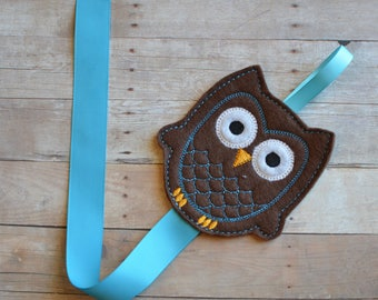 Embroidered Felt Owl Hair Clip Holder Brown Turquoise Ribbon