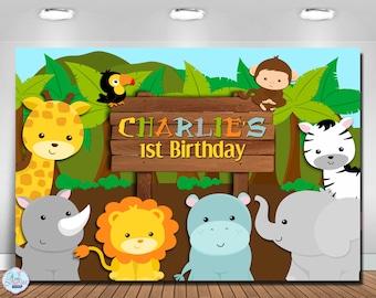 Jungle Safari Backdrop, Safari Animals Backdrop, Safari Jungle Backdrop, Jungle Safari Banner, Safari Backdrop, DIGITAL FILE, You Print