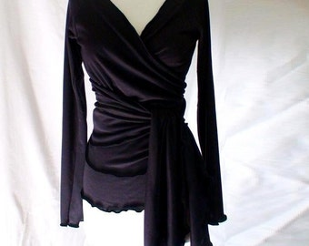 Black wraparound shirt, organic cotton, 21 color options