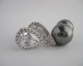 Dark Grey Pearl and Crystal Bridal Earrings Wedding Cubic Zirconia and Pearls Rhodium Earrings Swarovski Pearl Jewelry