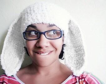Adult White Rabbit Bunny Hat / Crochet Womens Hat / Snow Bunny Costume / White Rabbit Bunny Ears Beanie / Crochet Bunny Photo Prop