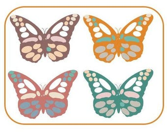 Retro Butterflies Art Notecards (set of 6 folded cards with envelopes in a clear box) - butterfly art print on notecards