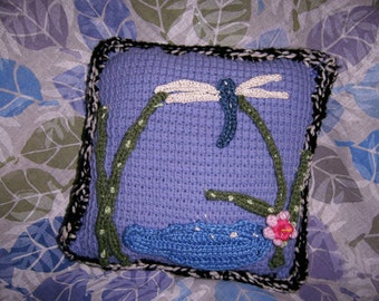 DRAGONFLIES  crocheted with added ferns for landing on