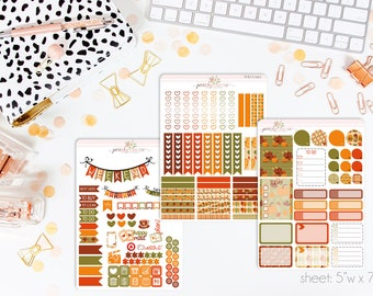Thanksgiving 2016 VERTICAL Weekly Kit // 140+ Matte Planner Stickers // Perfect for your Erin Condren Life Planner // WKV0390