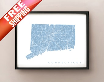 Connecticut State Map Print