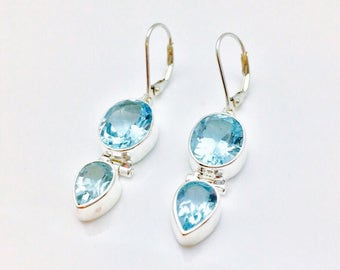 Blue Topaz Earrings // 925 Sterling Silver // Hinged Oval Teardrop Setting // Dangly Blue Topaz Earrings // Lever Wires