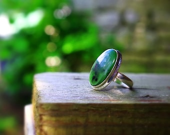 Nephrite jade ring, 925 sterling silver, size 54 (6.75 US and 55 (US 7))