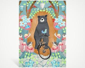 Bicycle Riding Bear Art Print | Studio Carrie Wall Art | 5x7 | Gift
