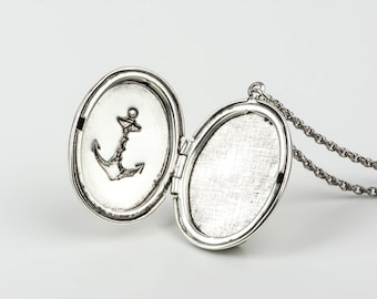 Vintage Long Anchor Locket Necklace, Anchor Necklace, Vintage Nautical Anchor Pendant, Silver Necklace Pendent, Silver Jewelry