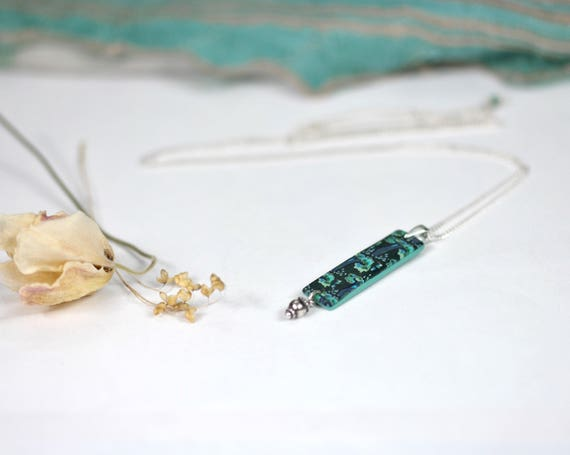 Long necklace with a teal pendant on a sterling silver chain 'Tilia', handmade Japanese patterned pendant and silver tassel