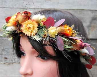 Flower crown with dried flowers, flower crown, Wedding flower crown, floral crown, Boho flower crown, natural flower crown, rustic crown