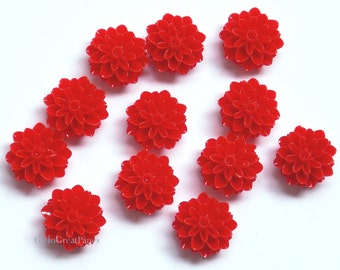 12 Cabs 15mm Deep Red Mums, Resin Cabochons, Flower Cabs for Jewelry Making, Plastic Pompon Chrysanthemum Flower, 15 mm Red Christmas Flower