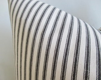 Pillow Cover Black & White Woven Twill Ticking Stripes