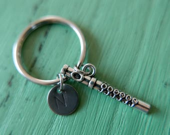 Flute music initial stainless steel Keyring