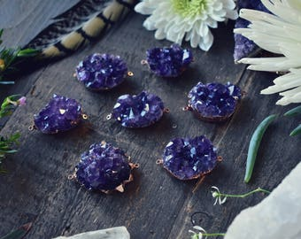 AMETHYST CLUSTER DRUZY /// 2 Bail Rose Gold Plated Pendant