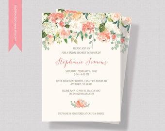 PEACH BRIDAL SHOWER Invitation, Bridal Shower Invitation Printable or Printed, Coral Bridal Shower Invitation, Shabby Chic Bridal Shower
