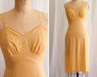 1960s Slip | Goldie | Vintage 60s Lingerie Gold Nylon Full Slip with Floral Lace Bodice Scallop Hem Vanity Fair Nightgown Underpinning Sz S