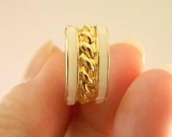 Gold Tone Rope Center White Enamel Clip Earrings