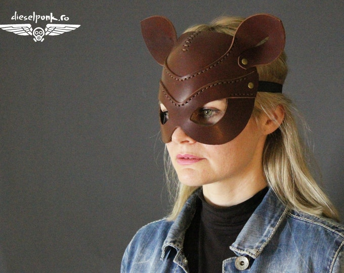 CAT MASK leather handmade mask Halloween cosplay fetish animal