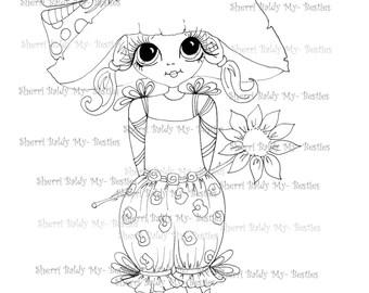 INSTANT DOWNLOAD Digital Digi Stamps Big Eye Big Head Dolls Digi  My - Besties Daisys Garden By Sherri Baldy
