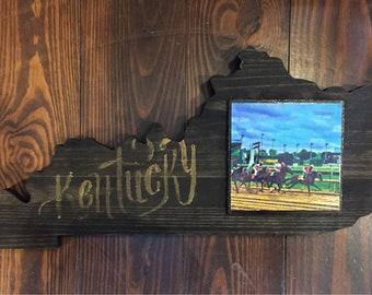 Derby Kentucky Shape Wooden Art