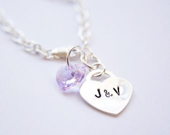 Heart lock sterling silver his and her initials charm bracelet with Swarovski crystal heart charm