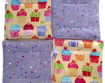 Quilted Coaster Set, Cupcake Coaster Set, Cupcake Drink Coasters, Drink Coasters,  Housewarming Gift, Hostess Gift, Wedding Gift,