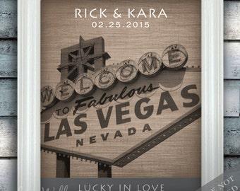Vegas Style Love - Custom Date Name Print - Personalized Las Vegas Wedding Gift - Bridal Shower Gift - Nevada - Unframed