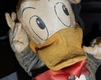 Vintage Donald Duck Toy with Oil Cloth Face made by Gund Manufacturing Co.