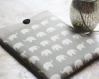 iPad Case, Tablet Case, ipad Sleeve, Tablet Sleeve, Elephant and Linen Pocket iPad Cases and Covers