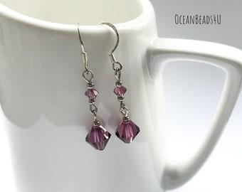 Swarovsky  dangle Earrings, Purple swarovsky Earrings, crystals ohrringe