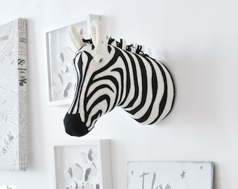 Zebra Faux Taxidermy -  Animal head - Wall decor - Zebra head - Wall mount - Nursery decor - Kids room decor - Baby room - Home decor