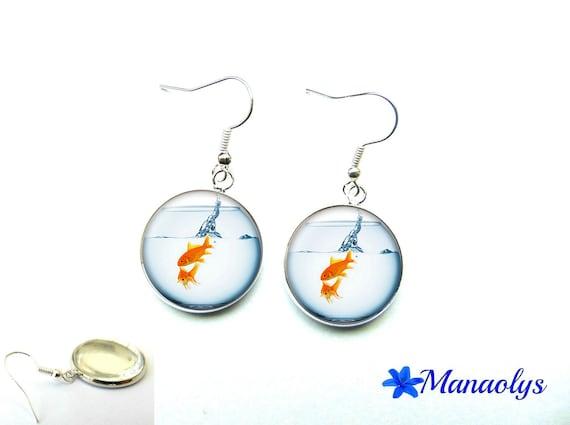 Goldfish 1266 glass cabochons earrings