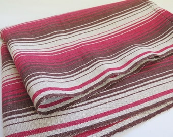 Vintage Long Table Runner, Red Brown Striped Table Cloth, 178 x 59,5 cm / 70'' x 23,4'' Thick Linen Blend, Scandinavian #2-18