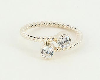 Twisted Rope Two Stone Bypass Ring