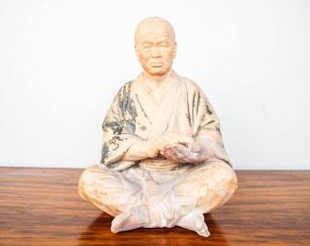 Antique Terracotta Chinese Monk Buddha Sculpture Statue Meditating Asian Figure