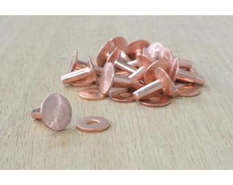 CHOOSE SIZE- Copper Rivet and Burr Set Number 9 Hardware 15 pk