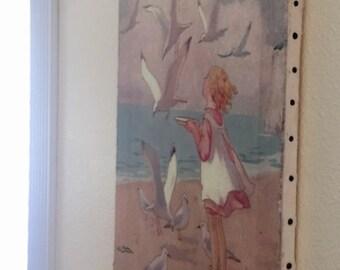 Margaret Tarrant Child at Beach Seagulls Retro Nursery Chidrens Illustration Reay To Hang on Canvas