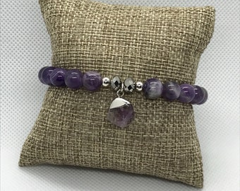 Chevron Amethyst Bracelet with Amethyst charm, Stackable