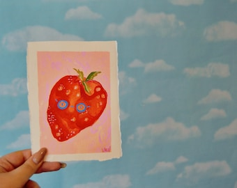 Shook Strawberry, Gouache and Watercolor painting.
