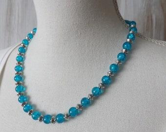 Blue crackle necklace, blue cracked glass necklace, summer necklace, pretty necklace, vibrant glass beads necklace, bright blue necklace