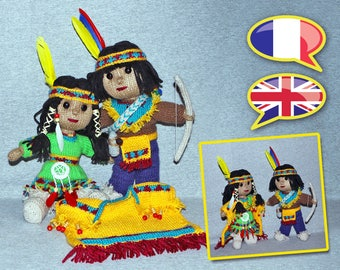 knitting pattern doll, Native indian, boy, girl, amigurumi