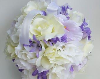 White and purple pomander, boho bridesmaid pomander, flower girl pomander, wedding decor, wedding aisle decor, alternative bouquet, keepsake
