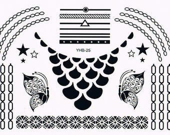 Temporary tattoos Black Lace YHB025 21 X 14.5 CM