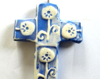 Cross Blue and white glazed ceramic - single-piece production craft