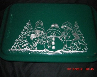 Hand Engraved Cake Pan with Engraved Snow Kids Lid