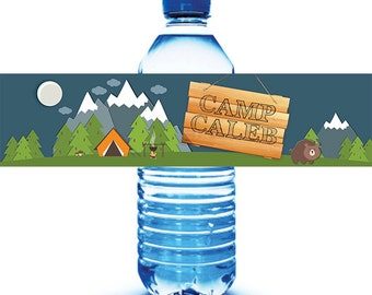 Camping Birthday Water Bottle Labels - Camping Party- Outdoor Party- Camping Birthday - Personalized Water Labels - Kids Camping Party